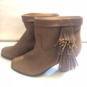 New JustFab Brown Tassel Booties in 7.5